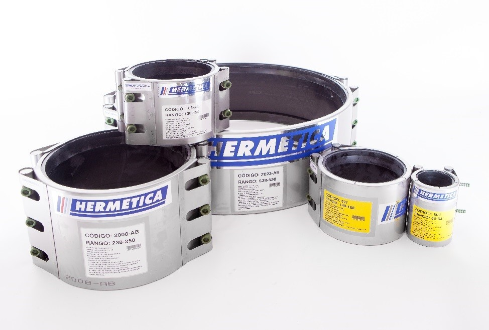 Reparaturmanschetten in Hochdruck Edelstahl für Rohre | HERMETICA