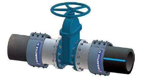 Valvulas instaladas con accesorios para tuberías HERMETICA