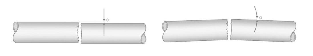 tubos alineados y desalineados