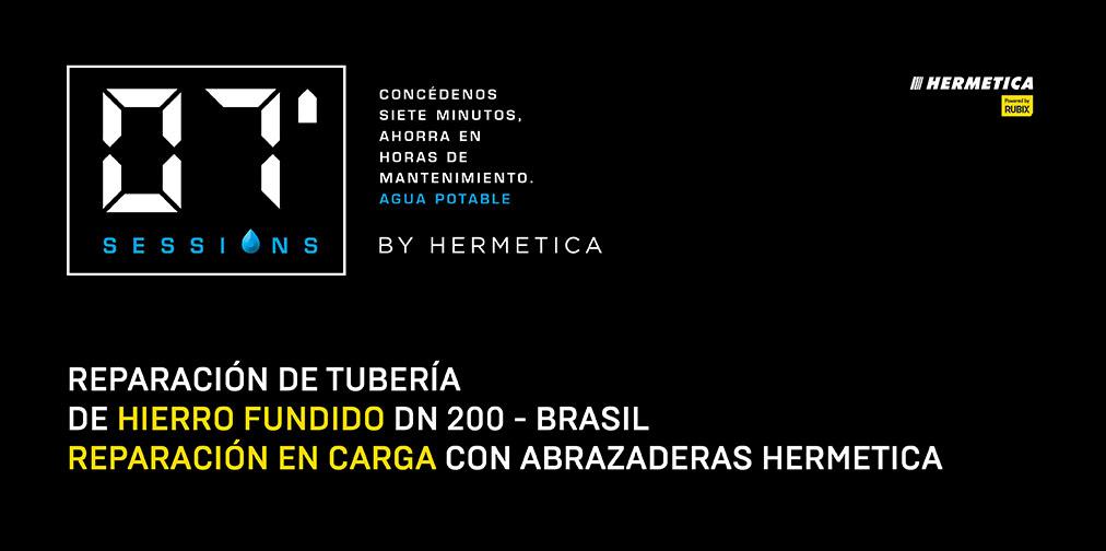 Reparación de tubería de Hierro Fundido DN 200 – Brasil. Reparación en carga con abrazadera HERMETICA.